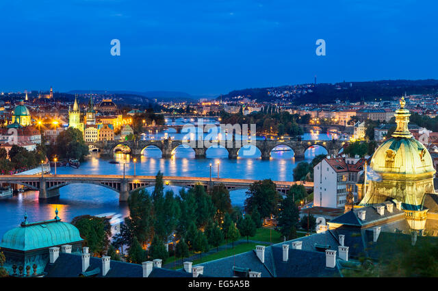 Over of Vlatava river and Charles bridge and bridges of Prague. - Stock Image