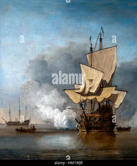 The Cannon Shot, by Willem van de Velde II, circa 1680, oil on canvas, Rijksmuseum, Amsterdam, Netherlands, Europe, - Stock Image