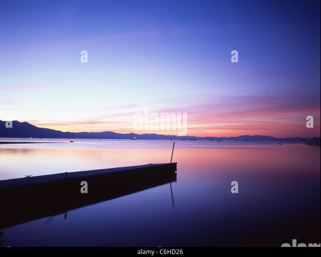 South Lake at sunset, Lake Tahoe, Sierra Nevada, California, United States of America - Stock Image