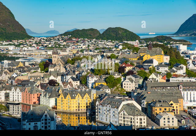 View of Alesund from Fjellstua, Mt. Aksla,Kevin Lookout, Alesund, Norway, More Og Romsdal, Scandanavia - Stock Image