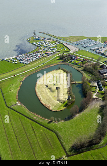 Netherlands, Edam, marina and ruins of Fort Edam, Fort bij Edam, belonging to the Defense Line of Amsterdam. Aerial - Stock Image