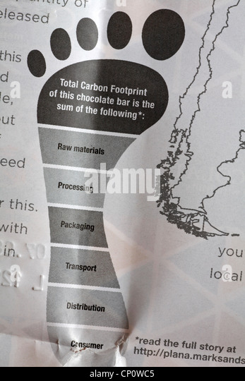 details of total carbon footprint on bar of chocolate - Stock Image