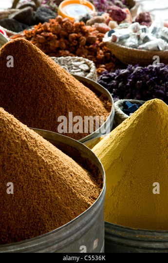 Spices display in a market, Marrakesh, Morocco - Stock Image