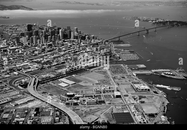 aerial view above Mission Bay district San Francisco - Stock Image