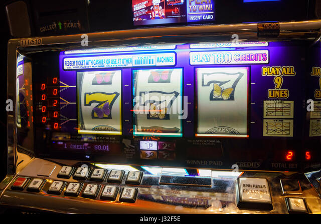 Vintage slot gambling machine in downtown Las Vegas, Nevada - Stock Image
