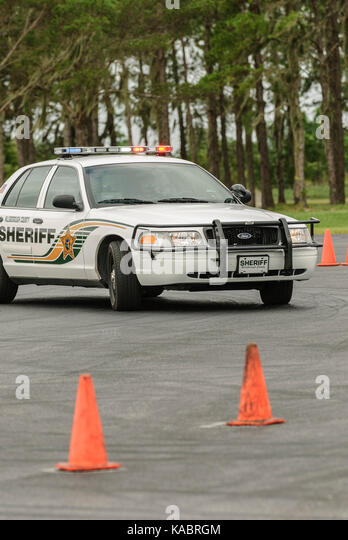 A Hillsborough County Sheriff's Office deputy goes through police pursuit training at the law enforcement training - Stock Image
