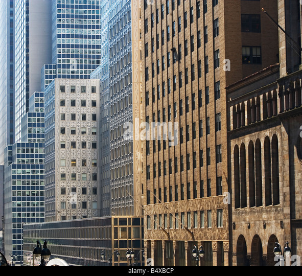 Architectural diverse highrise buildings - Stock Image