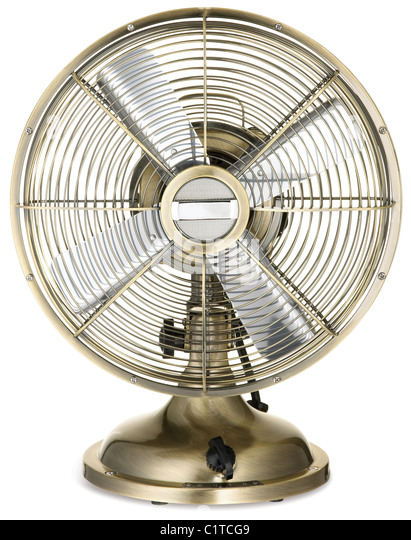 retro style silver and brass office fan isolated on a white background - Stock Image