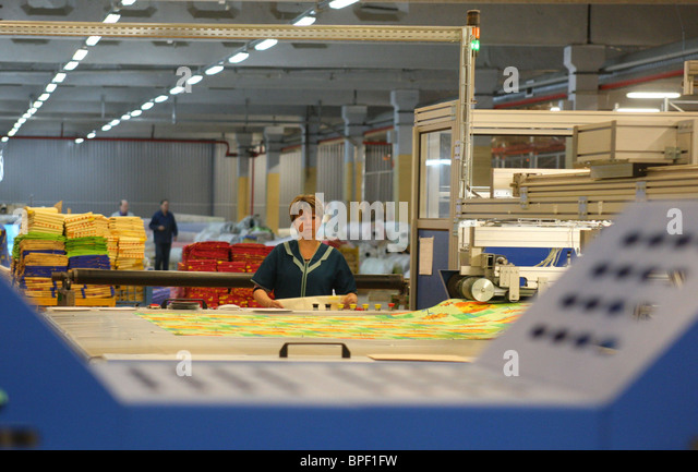 Nordtex Corporation's factory produces textile products in Ivanovo Region - Stock Image