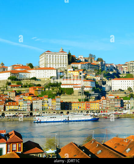 View of Porto Old Twon with boats on Douro river. Portugal - Stock Image