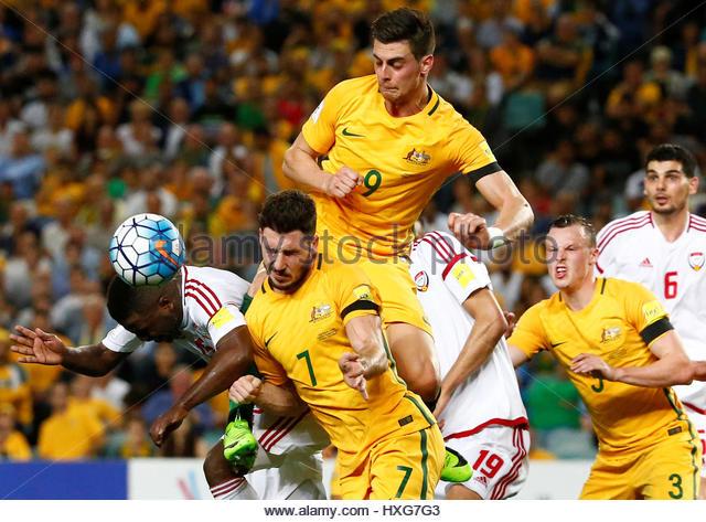 Football Soccer - Australia vs United Arab Emirates - 2018 World Cup Qualifying Asian Zone - Group B - Sydney Football - Stock-Bilder