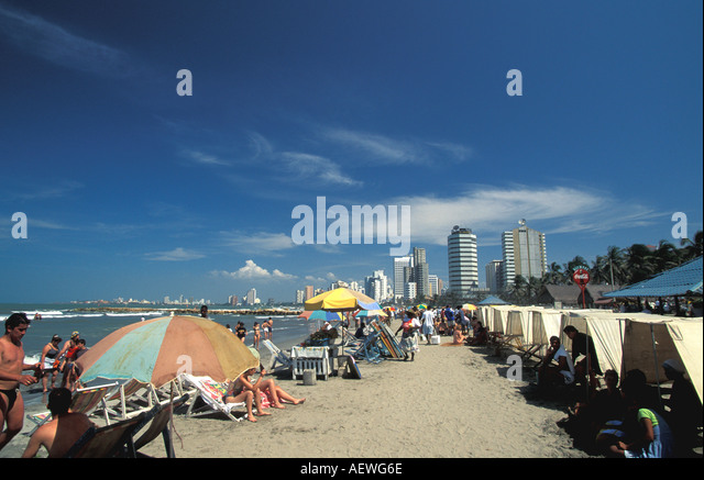 Cartagena Colombia South America Boca Grande Beach City Skyline Caribbean - Stock Image