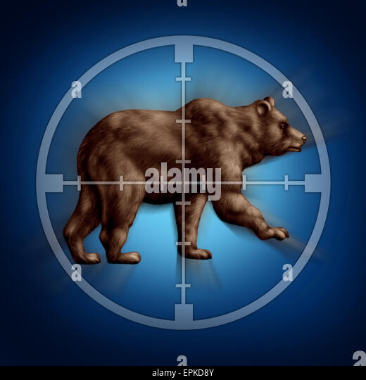 Bear market target business concept as an icon of targeting investor doubt and lack of confidence in stock trading - Stock Image