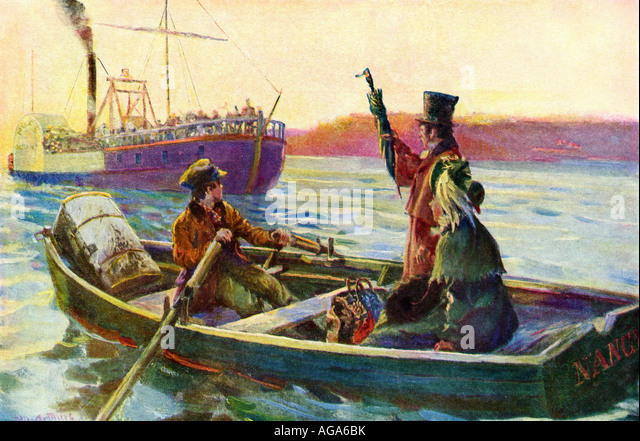 Passengers hailing a riverboat to board from a rowboat in mid stream early 1800s - Stock Image
