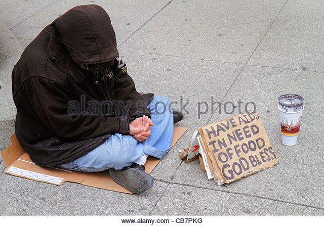 San Francisco California Chinatown Grant Street homeless poverty beggar vagrant charity sign AIDS hungry hooded - Stock Image