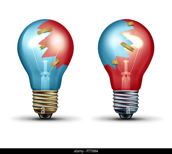 Idea trade concept as two light bulbs or lightbulb icons with shared pieces of glass as a teamwork and Leadership - Stock Image