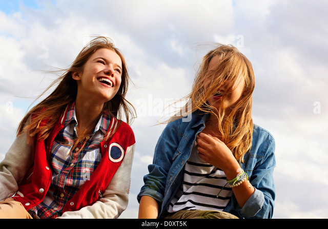 Happy teenage girls - Stock Image