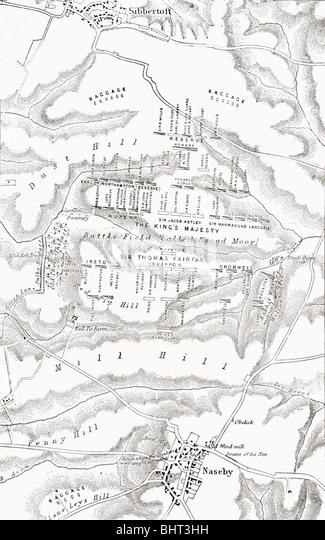 Map of the site of the Battle of Naseby, 1645. - Stock Image
