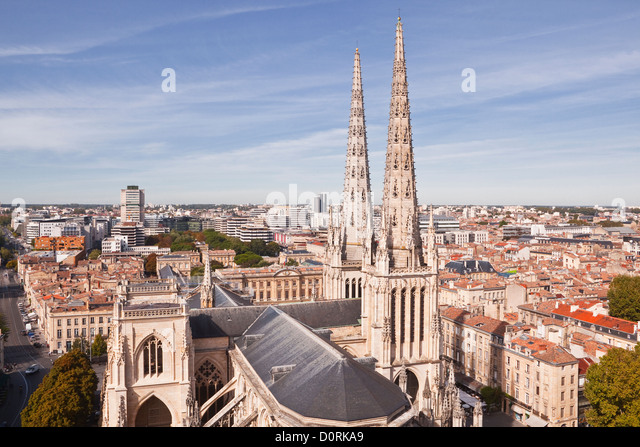 Looking down on the cathedral in Bordeaux, France. - Stock Image