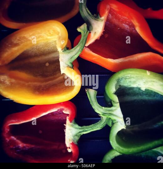 Coloured Peppers - Stock Image