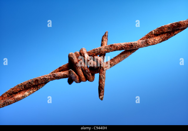 Rusty barbed wire - Stock Image