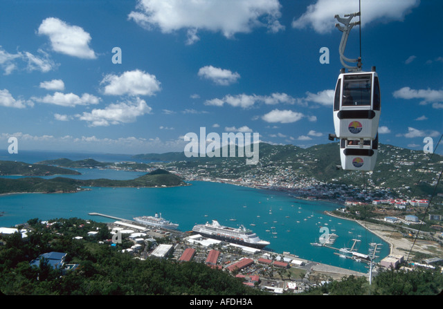 US Virgin Islands St. Thomas Charlotte Amalie Paradise Point Tramway Overlook St. Thomas Harbor beyond USVI020 - Stock Image