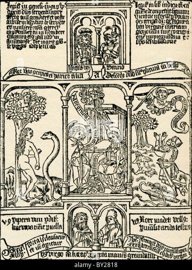 Biblical illustrations. From Geschiedenis van Nederland, published 1936. - Stock Image