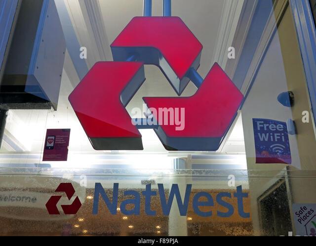 Natwest branch logo with free wifi window, Warrington, Cheshire, England, UK - Stock Image