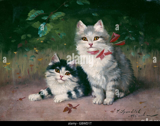 fine arts, Sperlich, Sophie (1863 - 1906), painting 'Cats', Wimmer Gallery, Munich, - Stock-Bilder