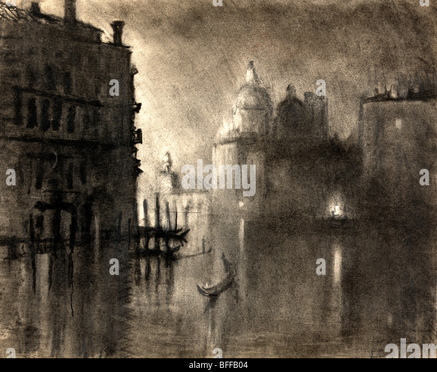 The salute from Grand Canal, Venice - Charcoal and Pastel, circa 1905 - Stock Image