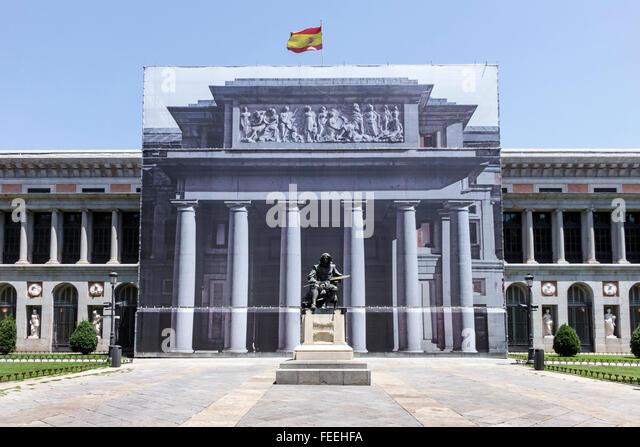 Madrid Spain Europe Spanish Hispanic Centro Retiro Paseo del Prado Museo del Prado Puerta de Velazquez Diego Velazquez - Stock Image