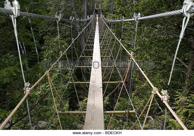 Michigan Mackinaw City Mackinac State Historic Parks Park Historic Mill Creek Discovery Park Forest Canopy Bridge - Stock Image