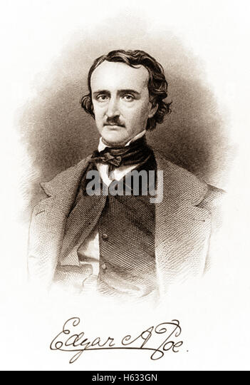 Portrait and signature of Edgar Allan Poe (1809-1849), engraved by R. Andersen circa 1850. See description for more - Stock-Bilder