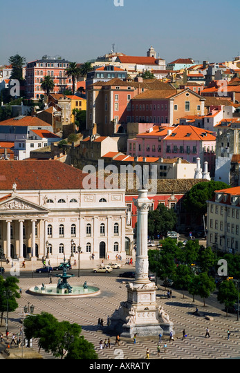 Portugal Lisbon Portugal View from Elevator Santa Justa towords Rossio square teatro Nacinal Dona Maria II - Stock Image