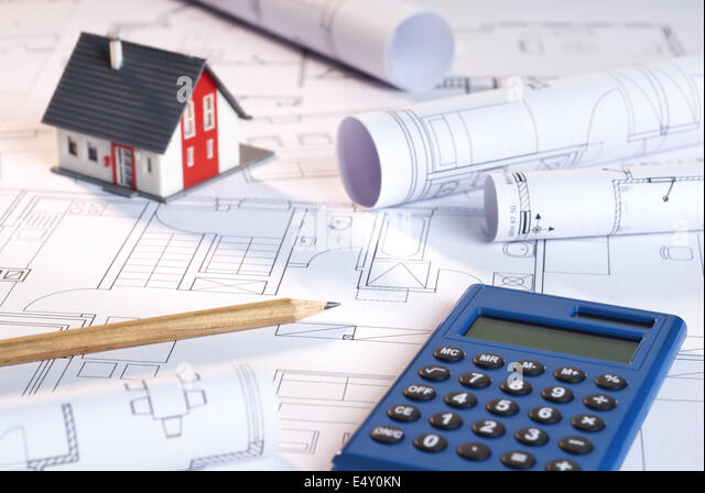 Blueprints, architecture model and calculator - Stock Image