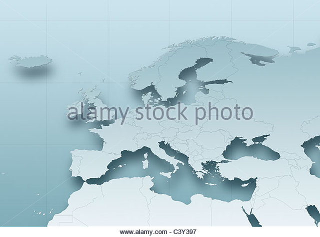 map, Western Europe, grey, political - Stock Image