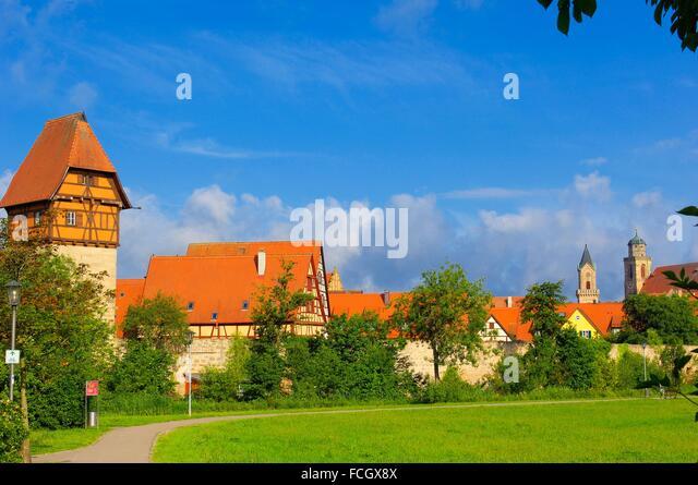 Dinkelsbuhl, Baeuerlin Tower, Dinkelsbühl, Romantic Road, Romantische Strasse, Middle Franconia, Bavaria, Germany. - Stock Image