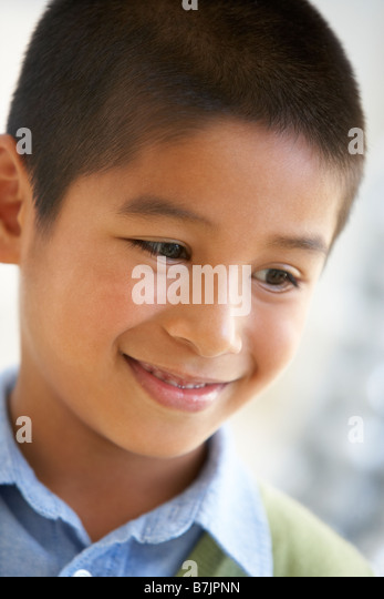Portrait Of Boy Smiling - Stock Image