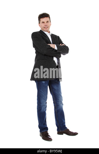 Attractive middle-aged man. All on white background. - Stock Image