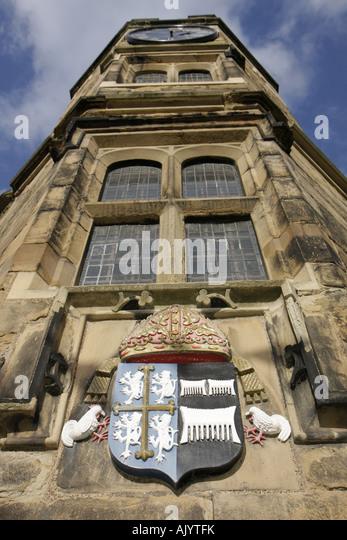 England UK Durham City Durham Castle University College Norman architecture family crest - Stock Image