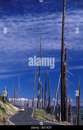 automobile car catastrophe dead destroys destruction disaster environment Mount Saint Helens National Volcan - Stock Image