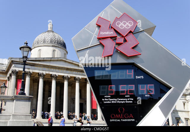LONDON, UK, Monday July 23, 2012. The Omega clock on Trafalgar Square reads 4 days to the Olympics. The London 2012 - Stock Image