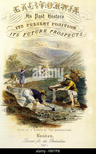 CALIFORNIA GOLD RUSH  Guide to California published in London in 1850 - Stock-Bilder