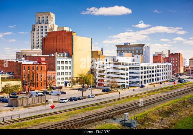 Durham, North Carolina, USA downtown cityscape. - Stock Image