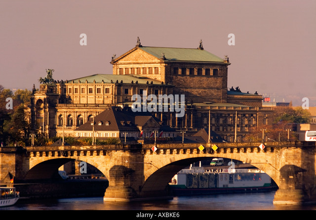 Dresden Saxony Semper Opera Augustus bridge river Elbe - Stock Image