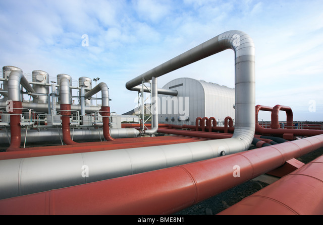 Pipe at geothermal power station - Stock Image