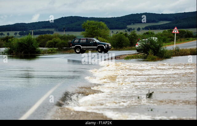 PRIMORYE TERRITORY, RUSSIA. AUGUST 31, 2015. The River Razdolnaya overflows near the village of Abramovka in the - Stock Image