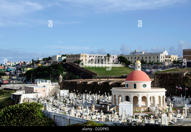 Old San Juan city scenic and skyline with cemetery, apartmenrts and museums in background, Puerto Rico - Stock Image