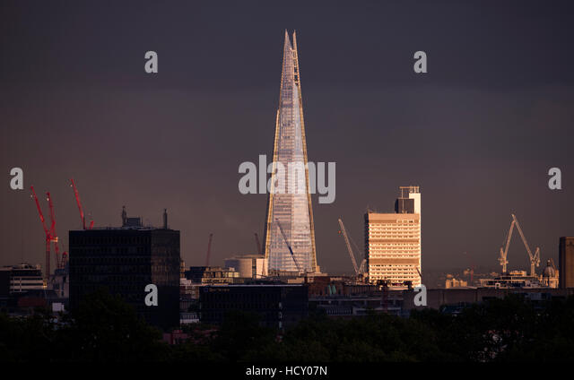 The Shard at sunset from the top of Primrose Hill in London, UK - Stock Image