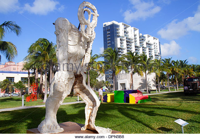 Miami Beach Florida Art Basel Art Public Collins Park artist Thomas Houseago Standing Figure sculpture - Stock Image
